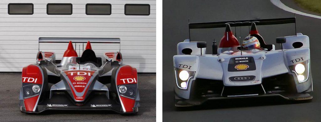 Em 2009 as regras para os carros da LMP1 mudaram e as asas traseiras tiveram sua dimensão reduzida de 2 metros (R10 TDI a esquerda) para 1,6 metros (R15 TDI a direita). Fonte: Wikipedia.