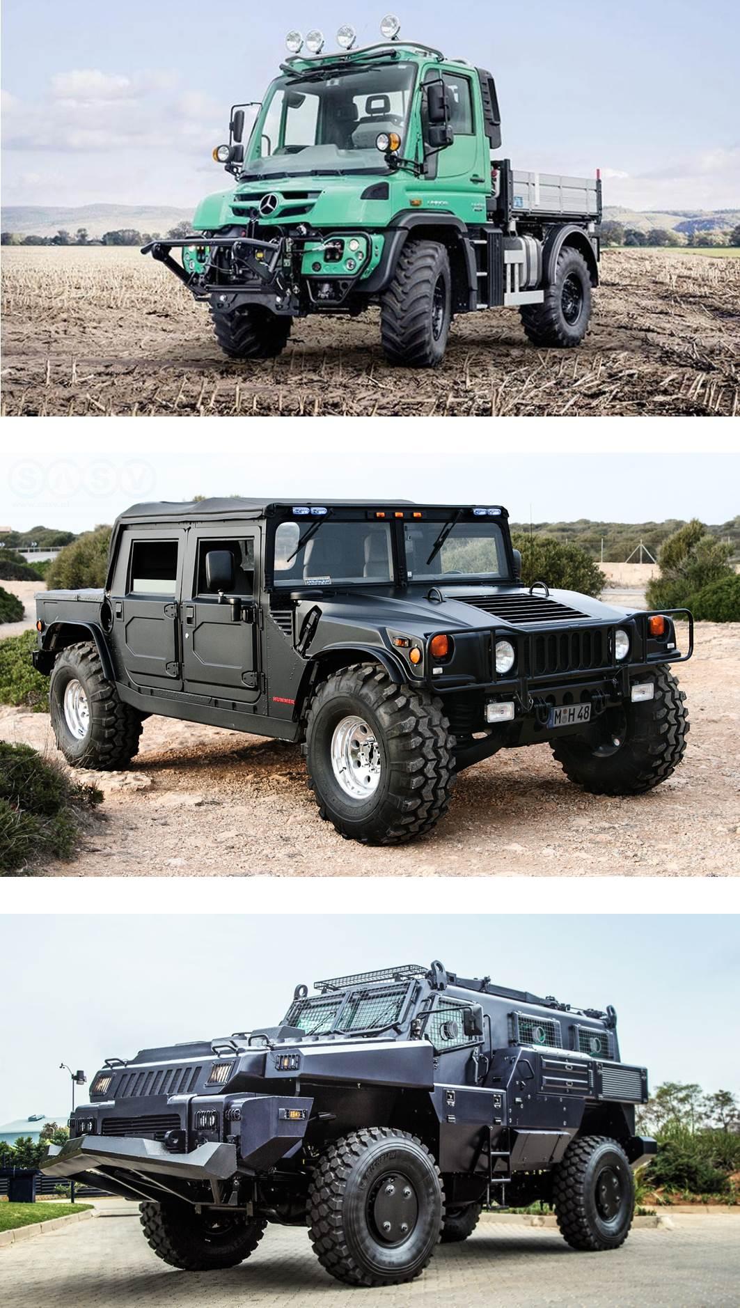De cima para baixo: Unimog, Hummer H1 e Paramount Marauder.