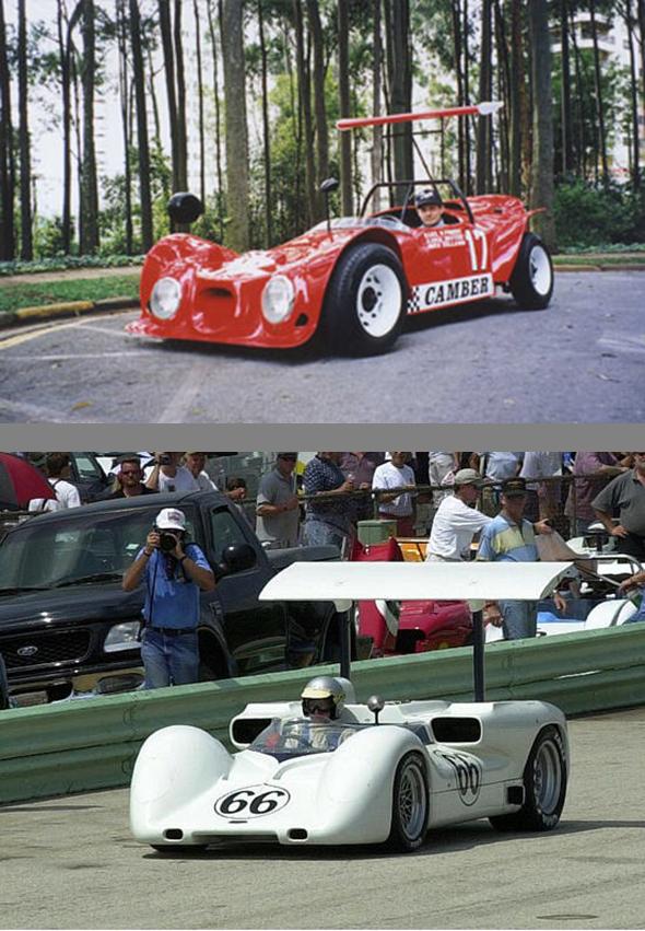 A evolução do Camber tomou como inspiração o Chaparral 2E, desde o aerofólio ajustável pelo piloto até o as linhas gerais. Fonte: Obvio e Bright Cars [4].