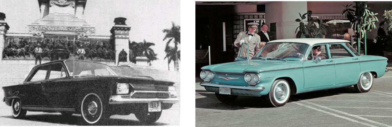 Olhando lado a lado, a semelhança entre o design do Democrata e do Chevrolet Corvair fica evidente. Nenhum exemplar da versão sedã sobreviveu ao que se sabe. A grade dianteira, assim como no modelo cupê, era apenas um adorno já que o motor era traseiro. Fontes: Best Cars [1] e WikiCars [2].