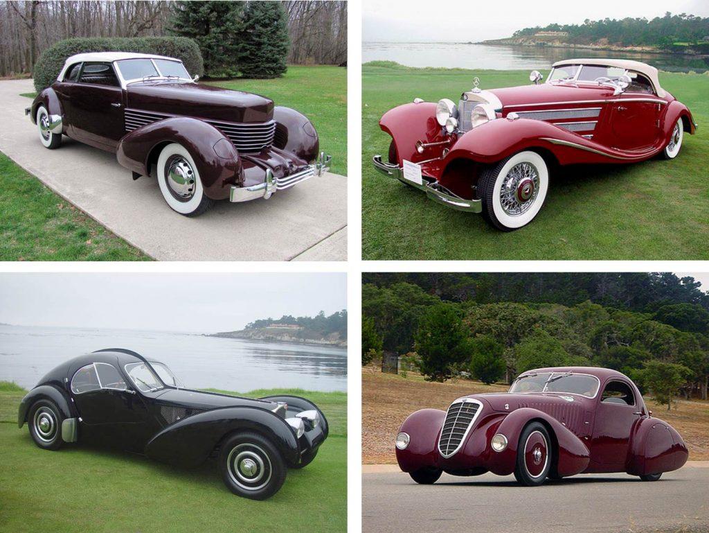 Em sentido horário: Cord 810 (1936), Mercedes-Benz 540K (1935), Bugatti Type 57SC Atlantic Coupé (1935) e Alfa Romeo 8C2300 Viotti Coupe (1932), carros que representam o melhor do design de Estados Unidos, Alemanha, França e Itália, respectivamente.