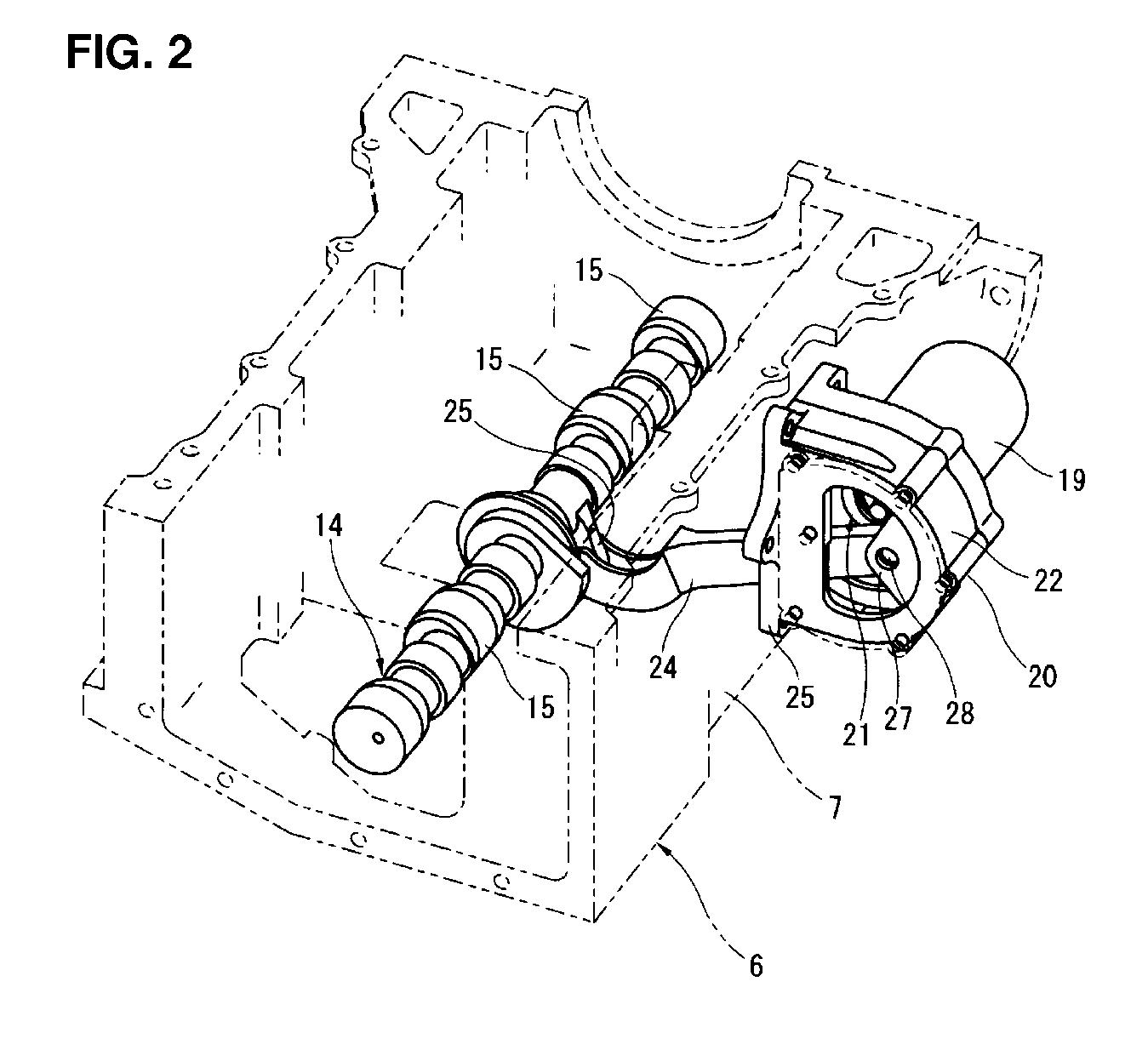 Detalhe do sistema de eixo excêntrico do sistema VC-T. Fonte: Patente US