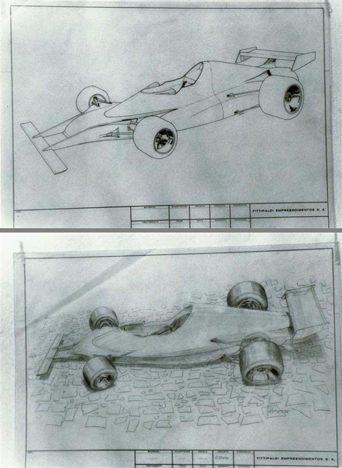 Primeiros esboços do Fittipaldi FD-01. Fonte: Arquivo Pessoal [3]