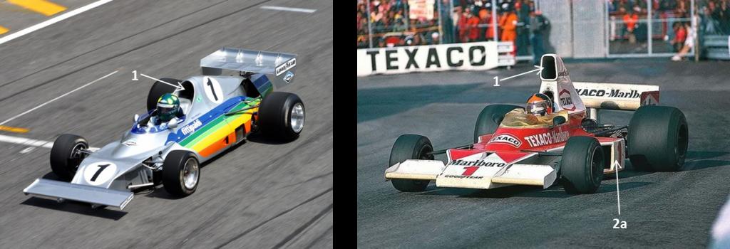 Comparado ao McLaren M23 contra o qual competiu,(quando?) o design do FD-01 era bem mais esguio, com menor área frontal. Adaptado de: Allphacoders e Dogfight Mag [6]