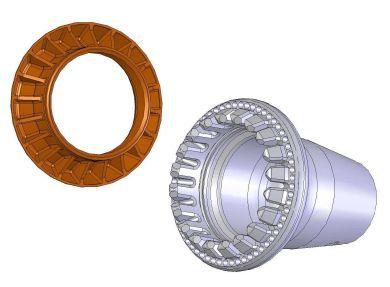 Detalhe de uma porca (esquerda) e socket (direita) do tipo que pode ser encontrado em carros de corrida modernos. Fonte: Modern Applications News [6].