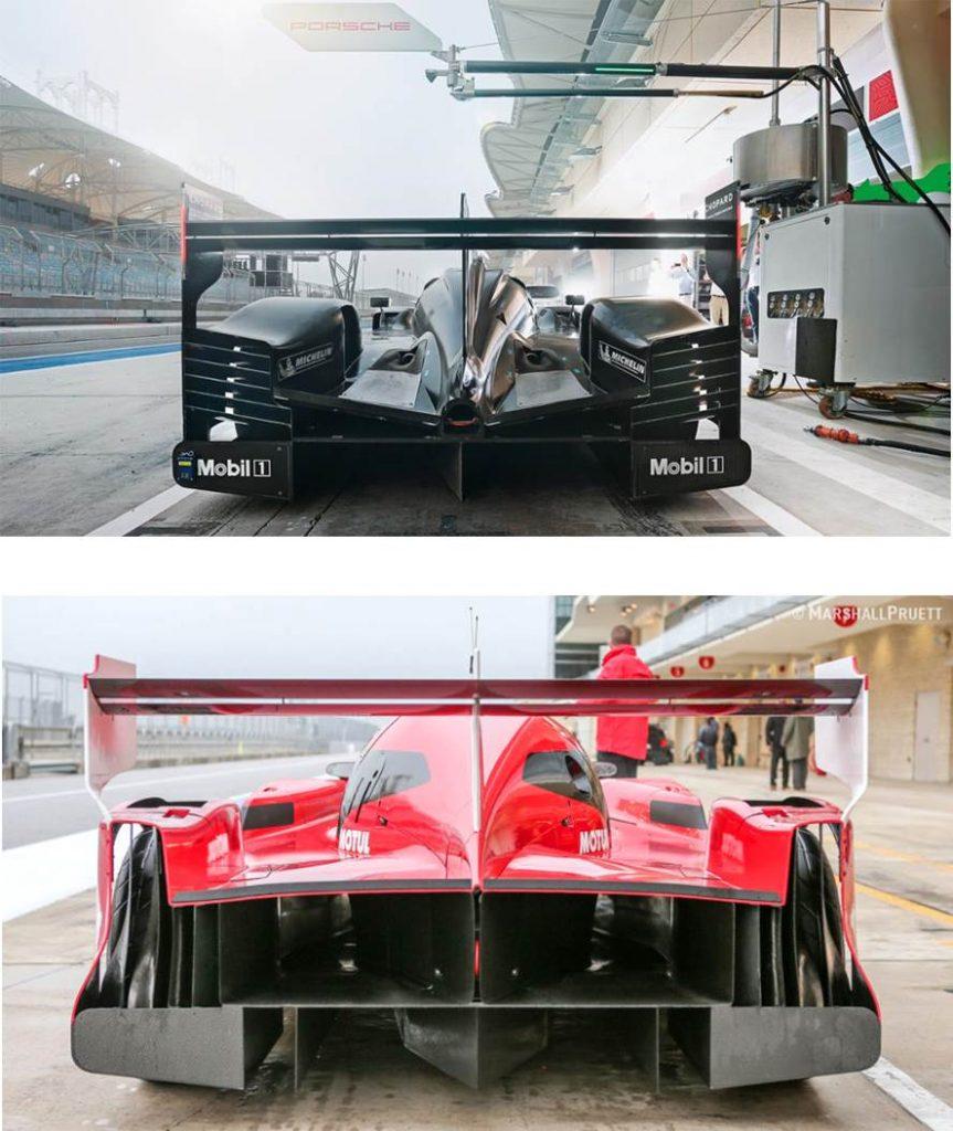Diferença entre os difusores do GT-R LM e do Porsche 919 contra o qual competiu.