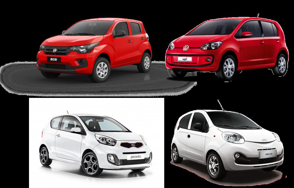 Em sentido horário os quatro hatchbacks que formam a espinha dorsal do segmento A no Brasil: Fiat Mobi, Volkswagen up!, Chery QQ e Kia Picanto. Imagens: Divulgação.