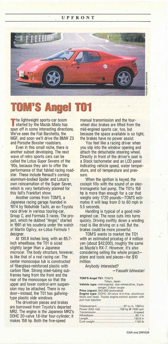 Reportagem da revista Car&Driver sobre o TOM'S Angel T01. Fonte: Car&Driver [5].