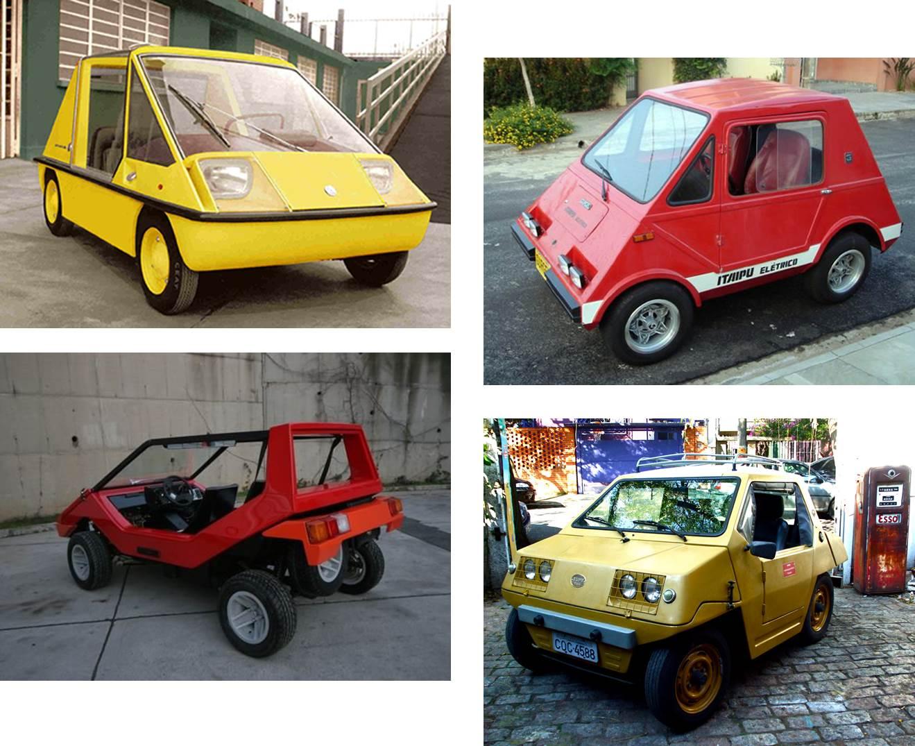 Diversos modelos influenciaram o design do Mini. Em sentido horário temos Aruanda, Gurgel Itaipu, Anadol Bocëk e o próprio Mini Tupi. Fontes: Respectivamente, Lexicar Brasil [1],