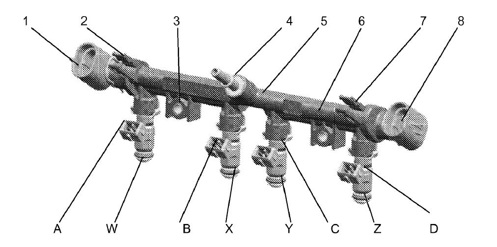 Detalhe da galeria de combustível do sistema ECS®. Fonte: Patente US 2012/0204843 A [10].
