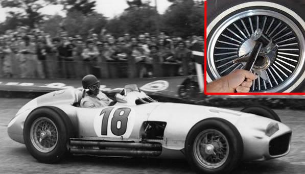 Mercedes W196 de Juan Manuel Fangio e detalhe do tipo de equipamento utilizado na época. Fonte: Technical F1 Dictionary [2].